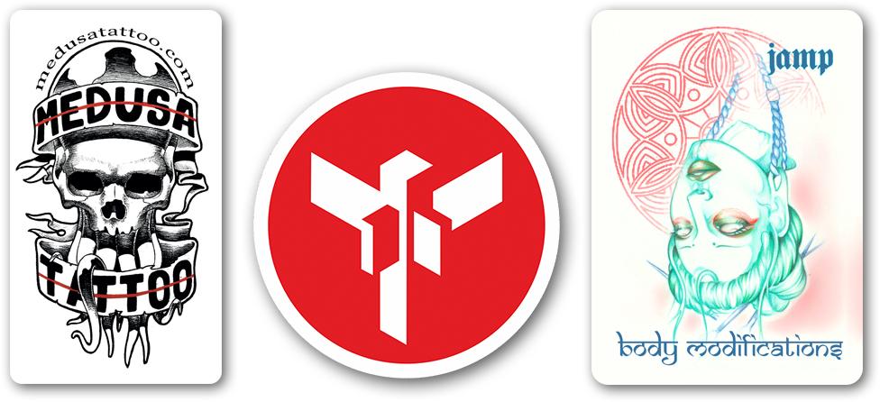 διάφορες χάρτινες αυτοκόλλητε ετικέτες με λογότυπα εταιριών