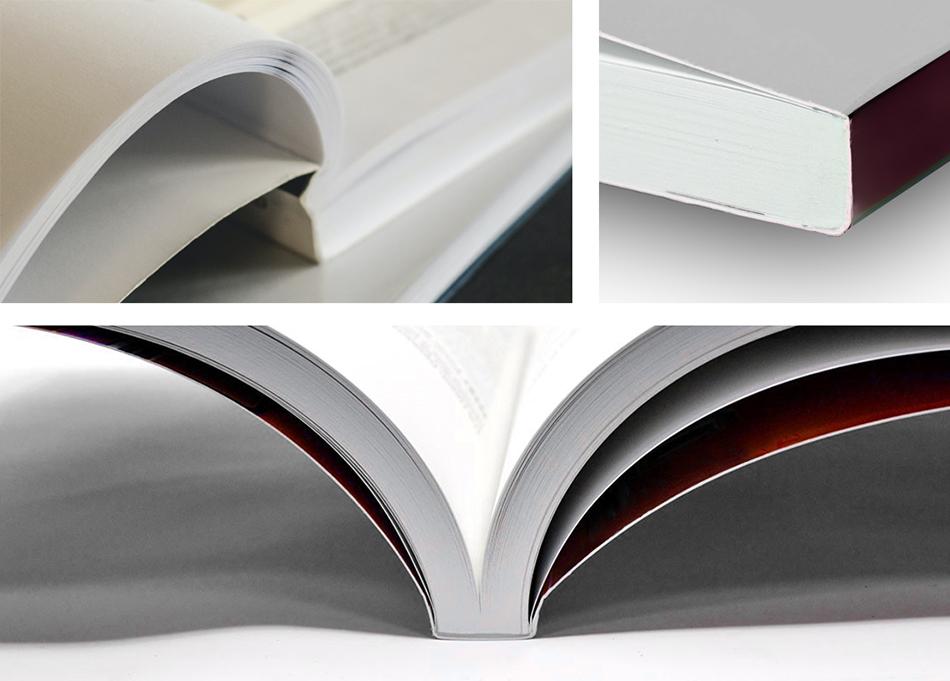 σύνθεση τριών φωτογραφιών που δείχνει λεπτομέρειες από βιβλία δεμένα με περιμετρική θερμοκόλληση